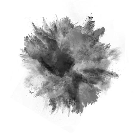 humo: Explosión de polvo negro, aislado en fondo blanco Foto de archivo