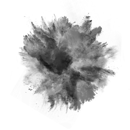 black smoke: Explosion of black powder, isolated on white background
