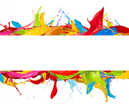 Abstract color splashes with blank stripe for copyspace, isolated on white background