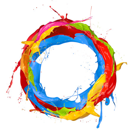 Abstract color splashes in circle shape, isolated on white background Stock Photo
