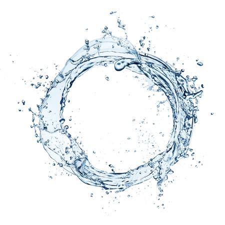 円形、白い背景で隔離の抽象的な青い水滴