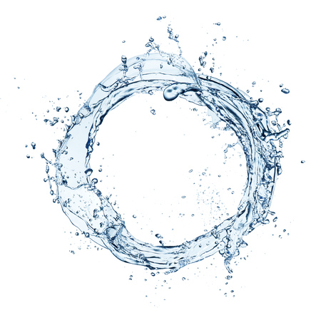 Blue abstract water splashes in circle shape, isolated on white background