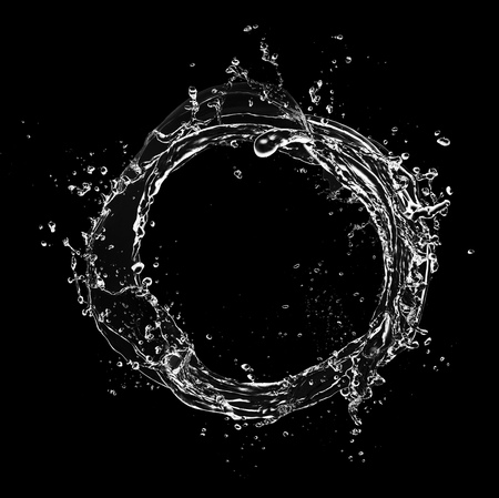 circular blue water ripple: Abstract water splashes in circle shape, isolated on black background Stock Photo