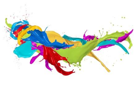absztrakt: Absztrakt színes splash elszigetelt fehér háttér Stock fotó