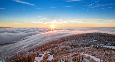 hoar frost: Majestic sunset in the winter mountains landscape. High resolution image Stock Photo