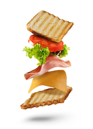 Fresh sandwich with flying ingredients isolated on white background. Copyspace for text, high resolution image Stock Photo
