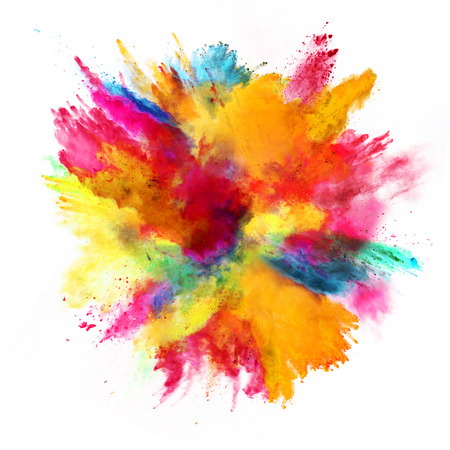Esplosione di polvere colorata, isolato su sfondo bianco