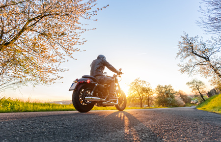 Back view of motorcycle driver driving in beautiful sunset Фото со стока