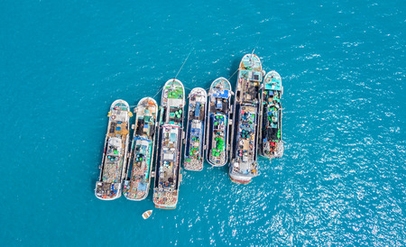 anchoring: Aerial view of group of fishermen boats anchoring in open sea