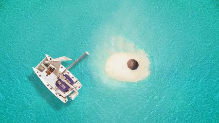 Kleine sandige Insel mit Regenschirm und Katamaran, Konzept der Entspannung und Sommerferien am Strand.