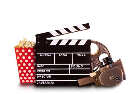 Retro film production accessories isolated on white background. Concept of film-making.
