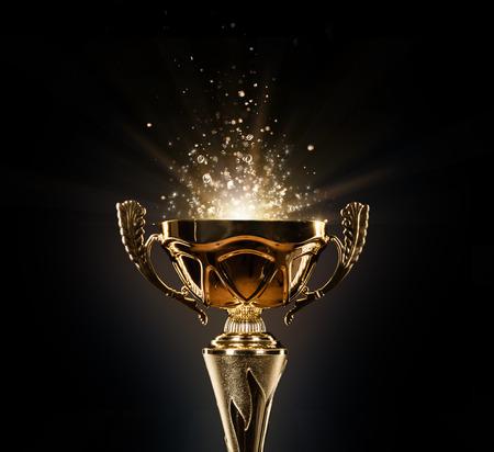 Kampioens gouden die trofee op zwarte achtergrond wordt geïsoleerd. Concept van succes en prestatie.