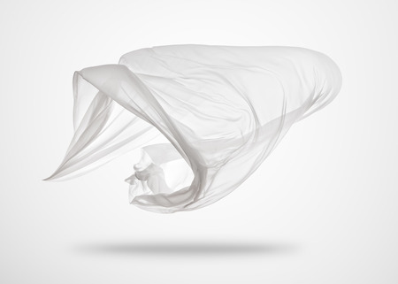 Smooth elegant transparent white cloth separated on gray background. Texture of flying fabric. 版權商用圖片 - 74143736
