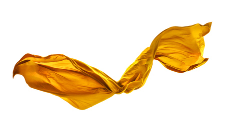 Smooth elegant yellow transparent cloth separated on white background. Texture of flying fabric. Standard-Bild