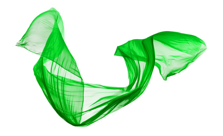 Smooth elegant green transparent cloth separated on white background. Texture of flying fabric. Imagens