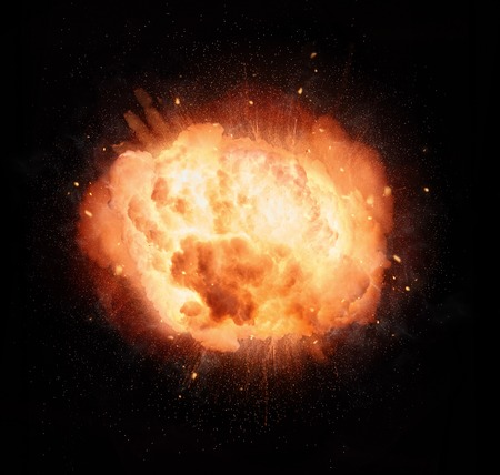 fiery: Realistic fiery explosion isolated on black background
