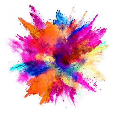 Esplosione di polvere colorata, isolato su sfondo bianco. Concetto di potere e arte, astrazione astratta di colori. Archivio Fotografico