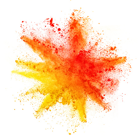 Explosion of colored powder, isolated on white background. Power and art concept, abstract blust of colors. Stock Photo