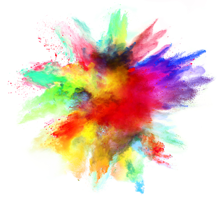 Explosion of colored powder, isolated on white background. Power and art concept, abstract blust of colors. Фото со стока