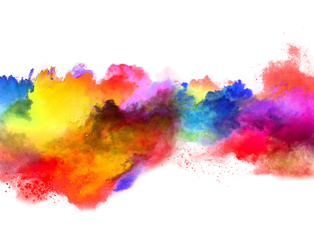 Explosion of colored powder, isolated on white background. Power and art concept, abstract blust of colors. Banco de Imagens