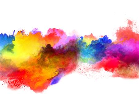Explosion von farbigem Pulver, isoliert auf weißem Hintergrund. Macht- und Kunstkonzept, abstrakte Blust der Farben. Standard-Bild