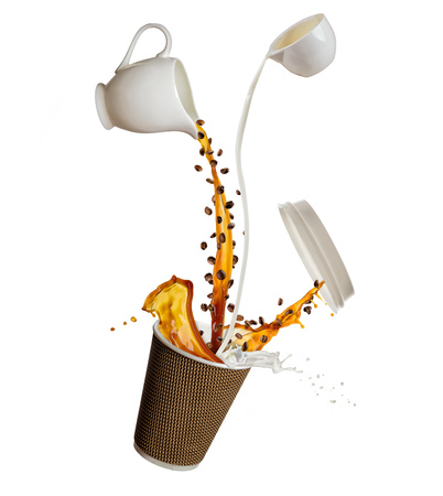 Take away cup with splashing coffee and milk liquid isolated on white background. Hot drink with splash, beverages and refreshment.