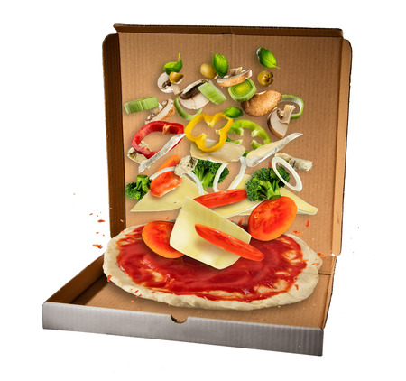Flying ingredients with pizza dough in paper box, isolated on white background. Food preparation, concept of take away food. Stock Photo