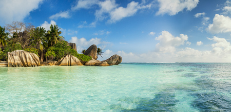 argent: Beautiful panoramic view of beach in Seychelles, island La Digue, Anse Source dArgent. Vacation and travel paradise