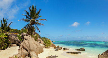 Beautiful panoramic view of beach in Seychelles, island La Digue, Anse Source dArgent. Vacation and travel paradise