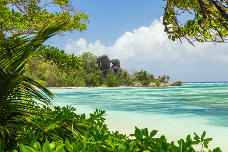 rock formation: Beautiful panoramic view of beach in Seychelles, island La Digue, Anse Source dArgent. Vacation and travel paradise