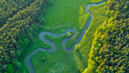 wildlife preserve: Aerial view of river valley in beautiful sunset light, Czech republic, Europe Stock Photo