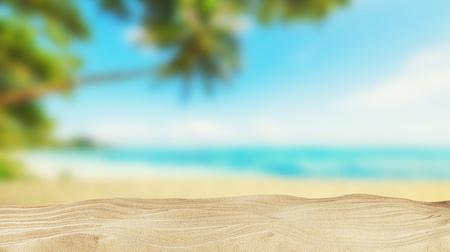 砂、夏の休日の背景を持つ熱帯のビーチ。旅行、ビーチの休暇、テキストまたは製品の配置の空き領域。 写真素材