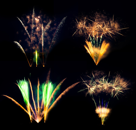 pyrotechnics: Collection of fireworks explosions isolated on black background. Celebration and success