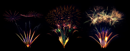 Collection of fireworks explosions isolated on black background. Celebration and success