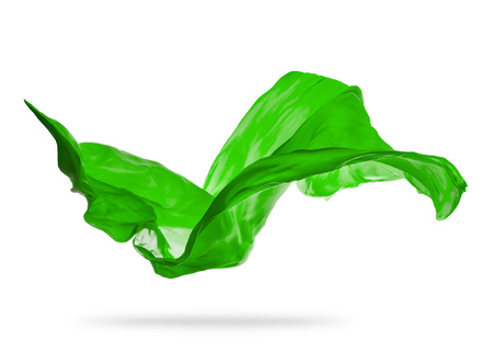 Smooth elegant green transparent cloth separated on white background. Texture of flying fabric. Reklamní fotografie