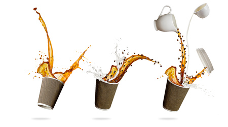 Take away cups with splashing coffee liquid isolated on white background. Hot drink with splash, beverages and refreshment. Very high resolution image Imagens