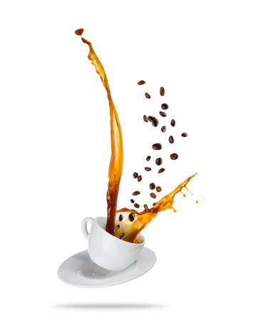 Porcelaine white cup with splashing coffee liquid with coffee beans, isolated on white background. Very high resolution image