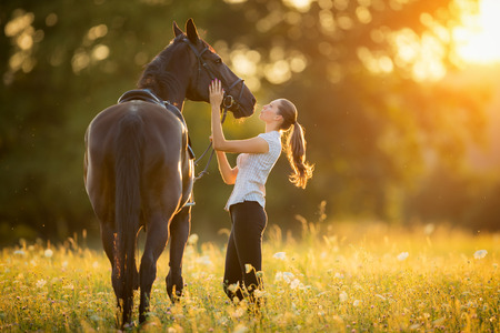 Young woman kissing horse in evening sunset light. Outdoor photography with fashion model girl. photo