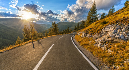 Beautiful autumn Alpine highway in nockalmstrasse area, Austria. Travel, transportation and outdoor photography.