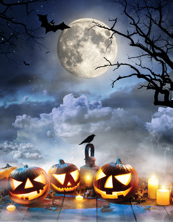 Spooky halloween pumpkins on wooden planks with dark horror background. Celebration theme, copyspace for text. Very high resolution image Banco de Imagens