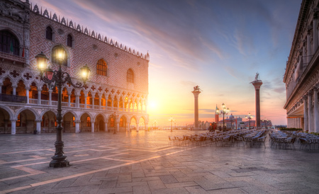 Beautiful sunrise on famous st.Marco square in Venice, Italy, Europe. Historical heritage. Stock fotó