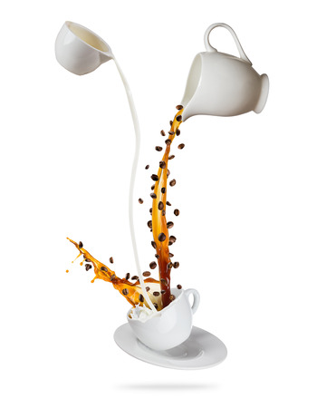 Splashing coffee drink with milk and flying beans, isolated on white background