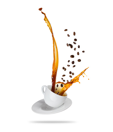 Splashing coffee drink from the cup with flying beans, isolated on white background Stok Fotoğraf