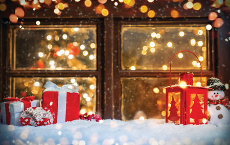 Christmas still life with old wooden window. Celebration background, high resolution image