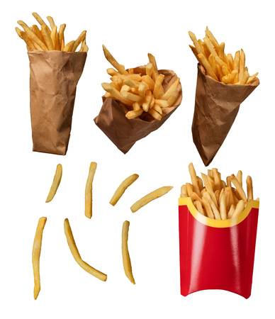 French fries collection isolated on white background