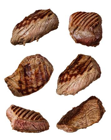 구운 된 쇠고기 스테이크 다양 한 종류, 흰색 배경에 고립 된 컬렉션