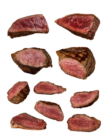 Grilled beef steaks in various kinds, collection isolated on white background. Whole meats and slices, medium done.