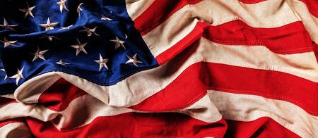 Close-up of USA flag in grunge design. Motive of celebration