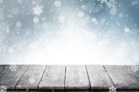 Christmas background with empty vintage planks and copyspace for text. Abstract holiday concept, high resolution image Stock Photo