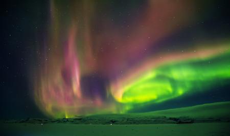 Aurora boreale bella aurora boreale in Islanda, girato all'inizio del periodo invernale Archivio Fotografico - 90758961
